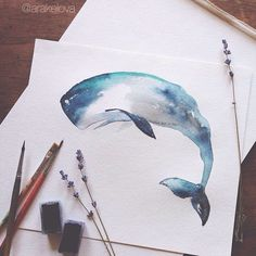 Image about art in Inspiration by Watercolor Whale, Watercolor Animals, Watercolour Painting, Painting & Drawing, Watercolours, Art Sketches, Art Drawings, Whale Tattoos, Whales