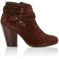 Rag & Bone Women's Harrow Ankle Boots ($269) ❤ liked on Polyvore featuring shoes, boots, ankle booties, brown, brown high heel boots, leather ankle boots, chunky heel ankle boots, brown booties and brown ankle boots