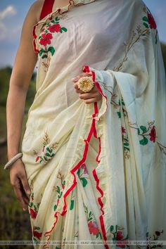 9c74cd63c64a51 Rosa Pure Flat Silk-Chiffon Hand Embroidered and Printed Saree