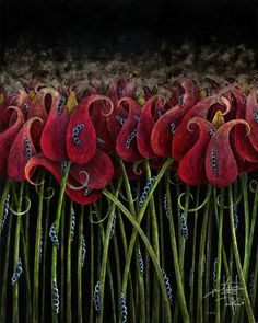 """Saatchi Online Artist: Kristian Rangel; Mixed Media """"Tulips"""""""