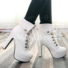 Heel Chunky na moda e botas de salto alto Lace-Up Design Mulheres