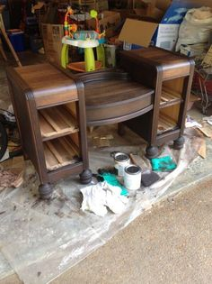 Staining A Wooden 1942 Vanity Table Back To Life Staining Wood Vanity Vintage Renew Painted Furniture Stain Repurposed Furniture, Rustic Furniture, Painted Furniture, Diy Furniture, Bedroom Furniture, Kitchen Furniture, Refinished Furniture, Furniture Repair, Refinished Vanity