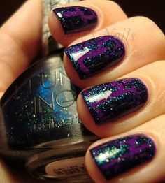 Funky Fingers Teal Scales crackle; dupe Mattese Elite Blue Star (shown over China Glaze Flying Dragon)