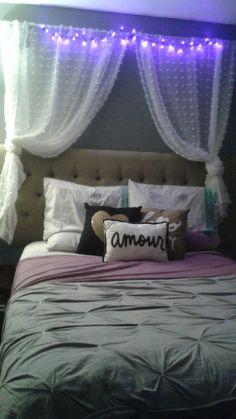 Bedroom, lights, romantic