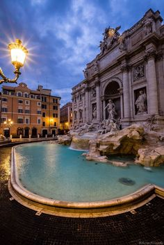Dawn over Trevi fountain, Rome, Italy