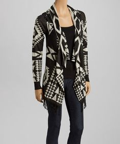 Love this Ivory & Black Tribal Open Cardigan on #zulily! #zulilyfinds. $33!!!!