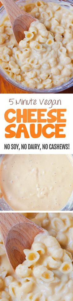 The Ultimate Vegan Cheese Sauce - I have no idea how this works, but it does! Ultra creamy vegan cheese sauce without any soy, nuts, or dairy Vegan Cheese Recipes, Vegan Cheese Sauce, Vegan Foods, Vegan Dishes, Dairy Free Recipes, Vegetarian Recipes, Healthy Recipes, Gluten Free, Vegan Meals