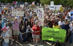 Justice Is Contagious! Thousands pack Pack Square Park for Mountain Moral Monday protests. 08/05/13--Bill Sanders