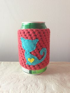 Aqua Cat Cozy in Rouge for a Cat Lover, Crochet Beer Coozie, Reusable Crochet…