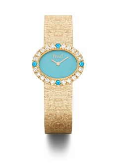 "Oval traditional watch in 18K pink gold set with 20 brilliant-cut diamonds, 4 natural turquoise cabochons and natural turquoise dial. ""Palace"" decoration gold bracelet. Piaget 56P quartz movement. #ExtremelyPiaget"