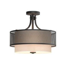 Home Decorators Collection 3-Light Bronze Mesh Semi Flush mount with Inner Cream Fabric shade