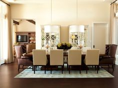 Dining Room by Alice Lane design  maybe the two drum shades...and there is that cabinet again