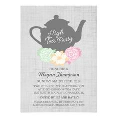 Tea party free printable party invitation template greetings teapot high tea invitation stopboris Choice Image