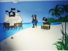 Sea Murals, Pirate Bedroom, Pirates, Bedroom Ideas, Wall, Walls, Dorm Ideas