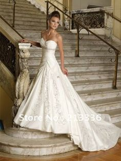 In Stock Ivory Dress Silvery Embroidery Wedding Dresses Bridal Proms Evening Gown 6.8.10.12.14.16 $89.00