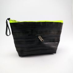 Recycled bicycle inner tube cosmetic pouch for men and woman, container, bag, with neon green zipper. on Etsy, 245,00kr