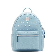 MCM Small Stark Special Studded Backpack In Sky Blue