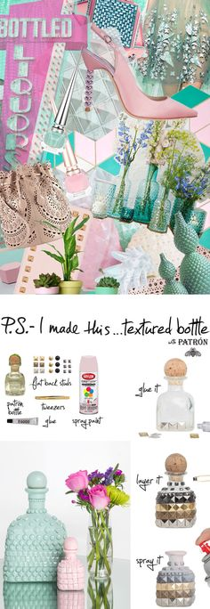 P.S.- I made this...Textured Bottle with @PatronTequila #ArtofPatron #PSIMADETHIS #DIY