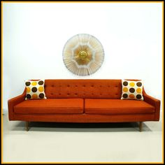Modern Decorative Settee for Living Room: Orange Leather Mid Century Modern Settee White Black Orange Polka Dot Cushions Buttons Tufted Backrest Couch Replacement Cushion Seating Loveseat Sofa Long Chair Wood Legs 2 Low Arm Chair Furniture Retro Sofa, Vintage Sofa, Mid Century Couch, Mid Century Modern Sofa, Mid Century Modern Design, Mid Century Modern Furniture, Chesterfield Sofas, Sectional Sofas, Mcm Furniture
