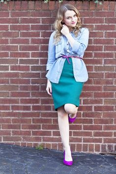 J.Crew Green Skirt and Chambray Shirt - Poor Little It Girl