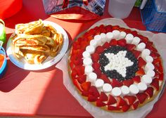 Captain America's Shield Fruit Pizza on a Sugar Cookie & Pepperoni Rolls.