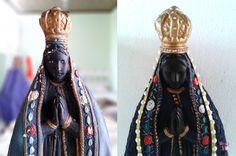 Antes e depois - detalhe da restauração em gesso realizada pelo Ateliê.