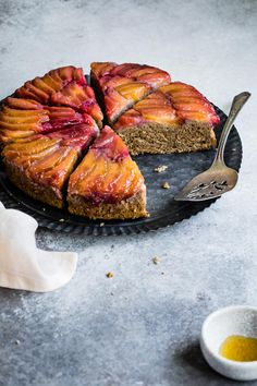 A gluten-free chestnut plum upside-down cake with summery baked plums or pluots blanketing a light tender crumb made of nutty earthy chestnut flour.