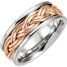 14K White & Rose 8mm Hand Woven Band Size 7