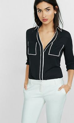 EXPRESS slim fit black contrast piping portofino shirt