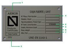 Ejemplo de una placa que debe llevar en su interior la caja fuerte y su correspondiente certificado de DYSS en MADRID, Madrid. Consulte nuestro catálogo