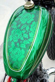Beautiful Lace art work.  Motorcycle gas tank built by Daniel James & paint job from @mategan613 ... Google Meditation4madmen for more xoxo