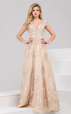 Jovani 48943 evening gown. This dress has fine gilded lace appliques and  chevron beadwork with 82fb888a8