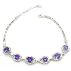Sterling Silver Rhodium Plated Purple Cubic Zirconia Pave Evil Eye Link Bracelet, 7 Ext * Read more at the image link. Diamond Jewelry, Diamond Earrings, Promise Rings For Her, Bridal Bracelet, Vintage Engagement Rings, Link Bracelets, Women's Earrings, Evil Eye, Women Jewelry