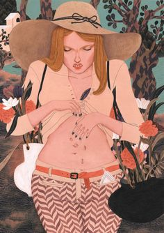I love her expression and the surrealism within this work. The flat hard edged paint with collage gives it an illustrational feel which adds to the unease