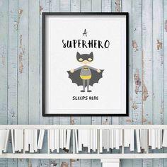 A Superhero Sleeps Here Quotes Wall Art Nursery Print Kids Bedroom Decor Batman Gift Nursery Wall Hanging Unframed N82