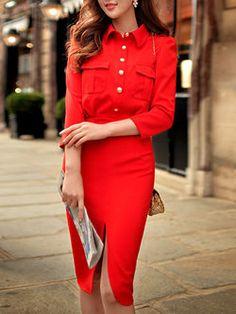 Slit Buttoned Midi Dress