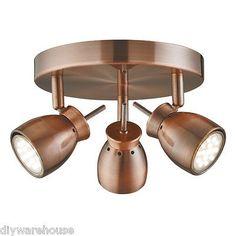 SEARCHLIGHT 8813CU JUPITER LED ANTIQUE COPPER 3 LIGHT CEILING SPOTLIGHT. BNIB