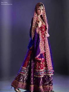 Red Blue and Purple Bridal Lehenga