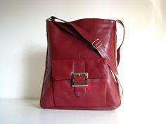 7dc61e147a Leather Handbag Pocket Messenger Berry Red