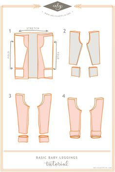 baby leggings pattern and illustrated tutorial no threading elastic and no hemming Sewing For Kids, Free Sewing, Sewing Diy, Sewing Clothes, Diy Clothes, Sewing Coat, Baby Patterns, Sewing Patterns, Clothing Patterns