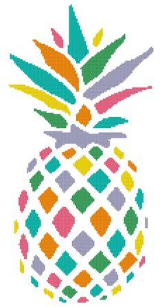 Rainbow Pineapple a Counted Cross Stitch by WooHooCrossStitch Monogram Cross Stitch, Simple Cross Stitch, Embroidery Art, Embroidery Stitches, Pixel Crochet, Palestinian Embroidery, Butterfly Cross Stitch, Modern Quilt Patterns, Crafty Projects
