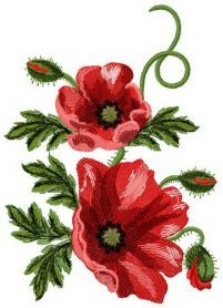 Poppies 3 machine embroidery design. Machine embroidery design. www.embroideres.com