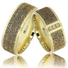 Verighete ATCOM Lux personalizate ECATERINA aur galben. Aceste inele de nunta se pot fabrica si din aur roz sau alb, cu sau fara diamante. Pentru un look modern, domnii pot opta pentru montarea unor diamante negre.