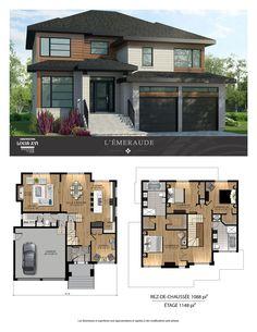 Maisons de prestige – Contemporaines à vendre Sims 4 House Plans, House Layout Plans, Family House Plans, New House Plans, Dream House Plans, House Layouts, Two Story House Design, Sims 4 House Design, Casas The Sims 4