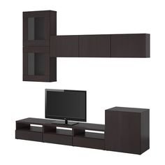 BESTÅ TV storage combination/glass doors - black-brown/Tofta high gloss/black smoked glass - IKEA
