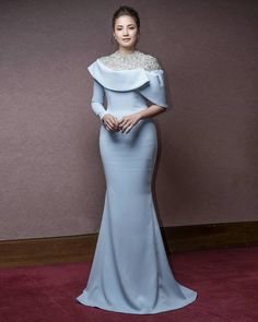 rizmanruzaini - FAZURA wearing a custom sky blue dress with silver diamond detail personal wedding details Elegant Wedding Dress, Elegant Dresses, Wedding Dresses, Bridesmaid Dresses, Prom Dresses, African Fashion Dresses, Dress Fashion, Couture Dresses, Beautiful Gowns