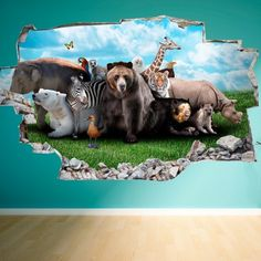 Sticker mural 3D Animaux sauvages