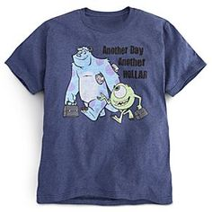 Disney Monsters, Inc. Tee for Men | Disney StoreMonsters, Inc. Tee for Men - Mike Wazowski and Sulley punch the time clock for laughter with their daily slogan, ''Another day, another hollar,'' on this heathered blue-collar tee made in the working comfort of an organic cotton blend.