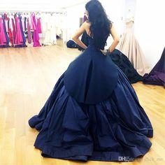 Nave Blue Prom Dresses Straps Sweetheart Pleats Satin Arabic Celebrity Evening Dresses Long Peplum Vestidos Formal Gowns Party Dress