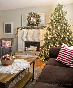 BRING OUT THE DOILIES, THEY LOOK LIKE SNOWFLAKES! christmas living room at twilight